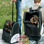 Trasportino per Cane e Gatto Trolley in Nylon Nero TRIXIE